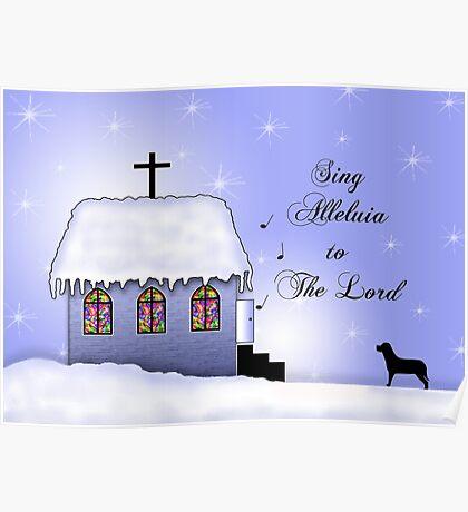 Church Snow Scene Poster