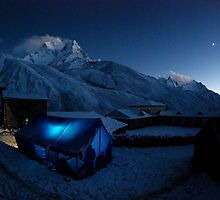 New moon over Ama Dablam by laurette