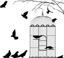 Birds and birdcage by Richard Laschon