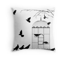 Birds and birdcage Throw Pillow