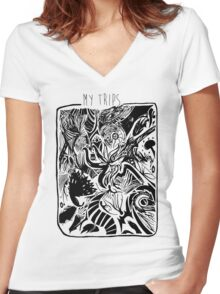 My Trips Women's Fitted V-Neck T-Shirt