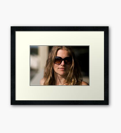 Jude sporting her new shades some more Framed Print