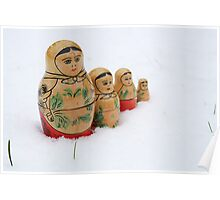 Russian dolls in snow Poster
