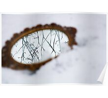 Ornate mirror in the snow Poster