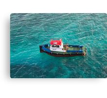 Red White and Blue Pilot Boat Canvas Print