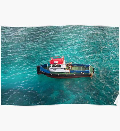 Red White and Blue Pilot Boat Poster