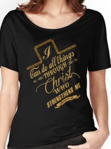 Philippians 4:13 Typography Women's Relaxed Fit T-Shirt