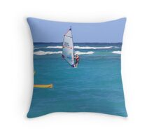 Surfing in the Caribbean Throw Pillow