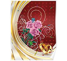 Greeting card with pink roses 2 Poster