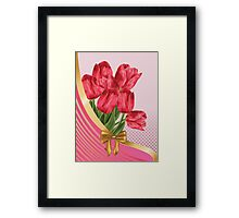 Greeting card with tulips Framed Print