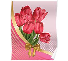 Greeting card with tulips Poster