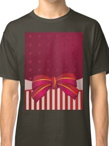 Striped background with bow Classic T-Shirt