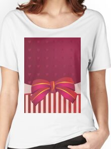 Striped background with bow Women's Relaxed Fit T-Shirt