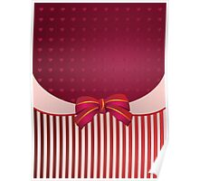 Striped background with bow Poster