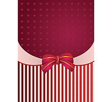 Striped background with bow Photographic Print