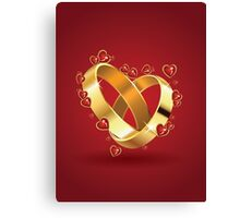 Wedding rings and hearts Canvas Print