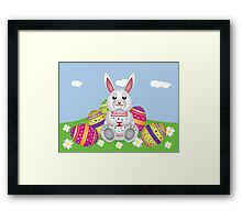 White bunny with Easter eggs 2 Framed Print