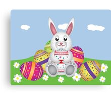 White bunny with Easter eggs 2 Canvas Print