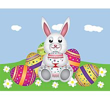White bunny with Easter eggs 2 Photographic Print