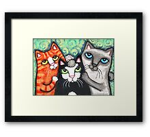 Siamese Tabby and Tuxedo Cats Posing Art Print Framed Print