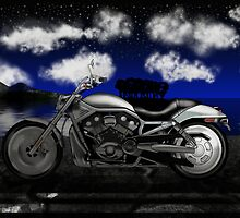Motorcycle At Night by JayBakkerArt