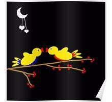 Valentine's Day Birds Moon Hearts Night Poster