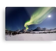White plains under the Northern Lights Metal Print