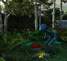 Blue Man 02: Weenie in the fire by Syd Baker
