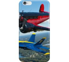 A U.S. Navy F/A-18 Hornet aircraft assigned to the Blue Angels  flies alongside Younkin Air Show's performer Matt Younkin iPhone Case/Skin