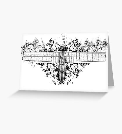 Inverted Angel of the North with attitude Greeting Card