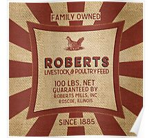 Vintage Feed And Seed Sack Chicken Burlap Poster