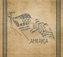 Burlap God Bless America Vintage by marceejean