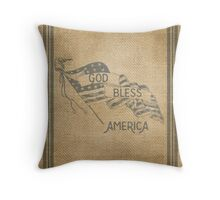 Burlap God Bless America Vintage Throw Pillow