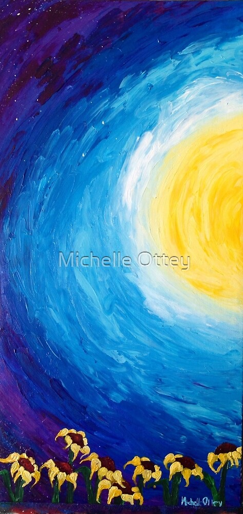 Sunflowers at sunset by Michelle Ottey