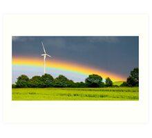 rainbow and wind turbine Art Print