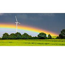 rainbow and wind turbine Photographic Print