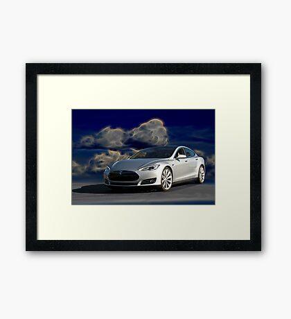 2014 Tesla Model S 'Sports Sedan' Framed Print
