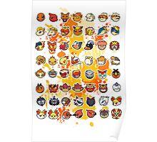 Pokemon - Fire invasion (White background) Poster