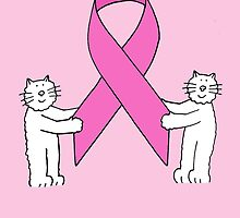 Breast Cancer support, thank you white kittens and pink ribbon. by KateTaylor