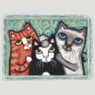 Siamese Tabby and Tuxedo Cats Posing T-Shirt  by Jamiecreates1