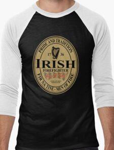 Irish Firefighter - oval label Men's Baseball ¾ T-Shirt