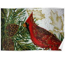 Quilted Cardinal Poster