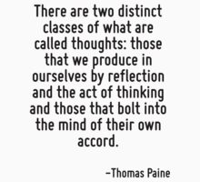 There are two distinct classes of what are called thoughts: those that we produce in ourselves by reflection and the act of thinking and those that bolt into the mind of their own accord. by Quotr