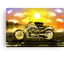 Motorcycle At Sunset Canvas Print