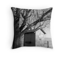 Kansas Country Outhouse Throw Pillow