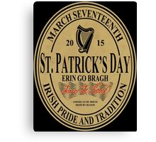 St. Patrick's Day - oval label Canvas Print