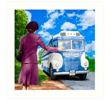 Boarding A Bus On The Roadside in Rural Georgia - Vintage 1943 Art Print
