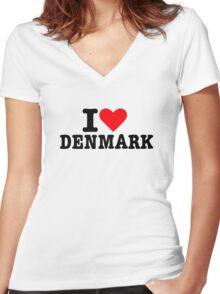I love Denmark Women's Fitted V-Neck T-Shirt
