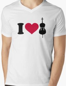 I love Violin Fiddle Mens V-Neck T-Shirt
