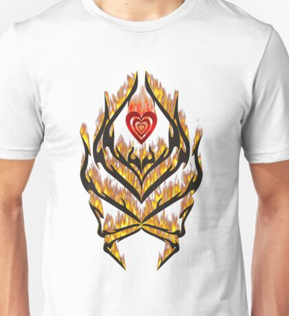 Flaming heart and tribal design Unisex T-Shirt